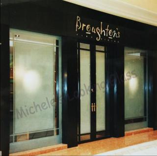 Sandblasted restaurant entrance doors