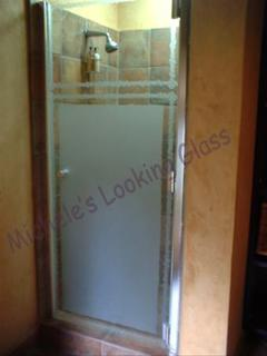 Health Spa shower door etched