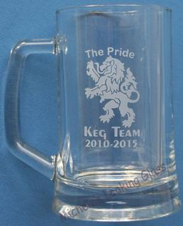 logo etched onto a beer mug