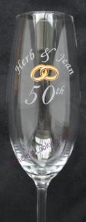 Etched glass plus painted gold bands