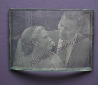 Engraved wedding photo