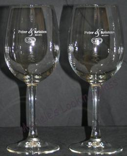 Etched wedding wine glasses