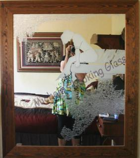 Image etched onto framed mirror