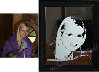 Photo etched onto mirror
