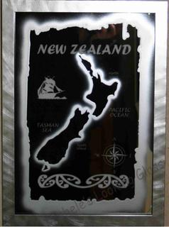 Framed map of NZ on a mirror
