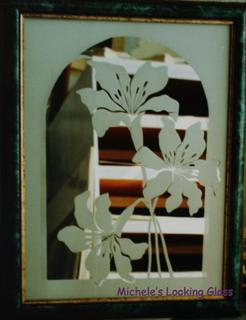 Sandblasted and Framed mirror with lilly design