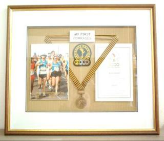 Photo, medal and certificate are floated