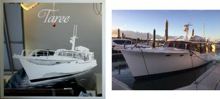 Yacht photo etched onto mirror