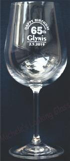 65th engraved wine glass