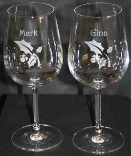 Etched Christmas glasses