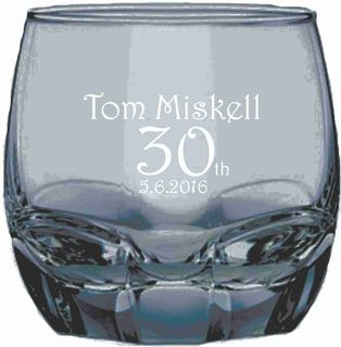 Etched 30th whiskey tumbler