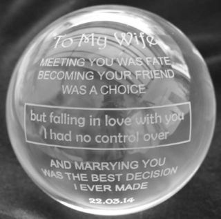 engraved glass ball