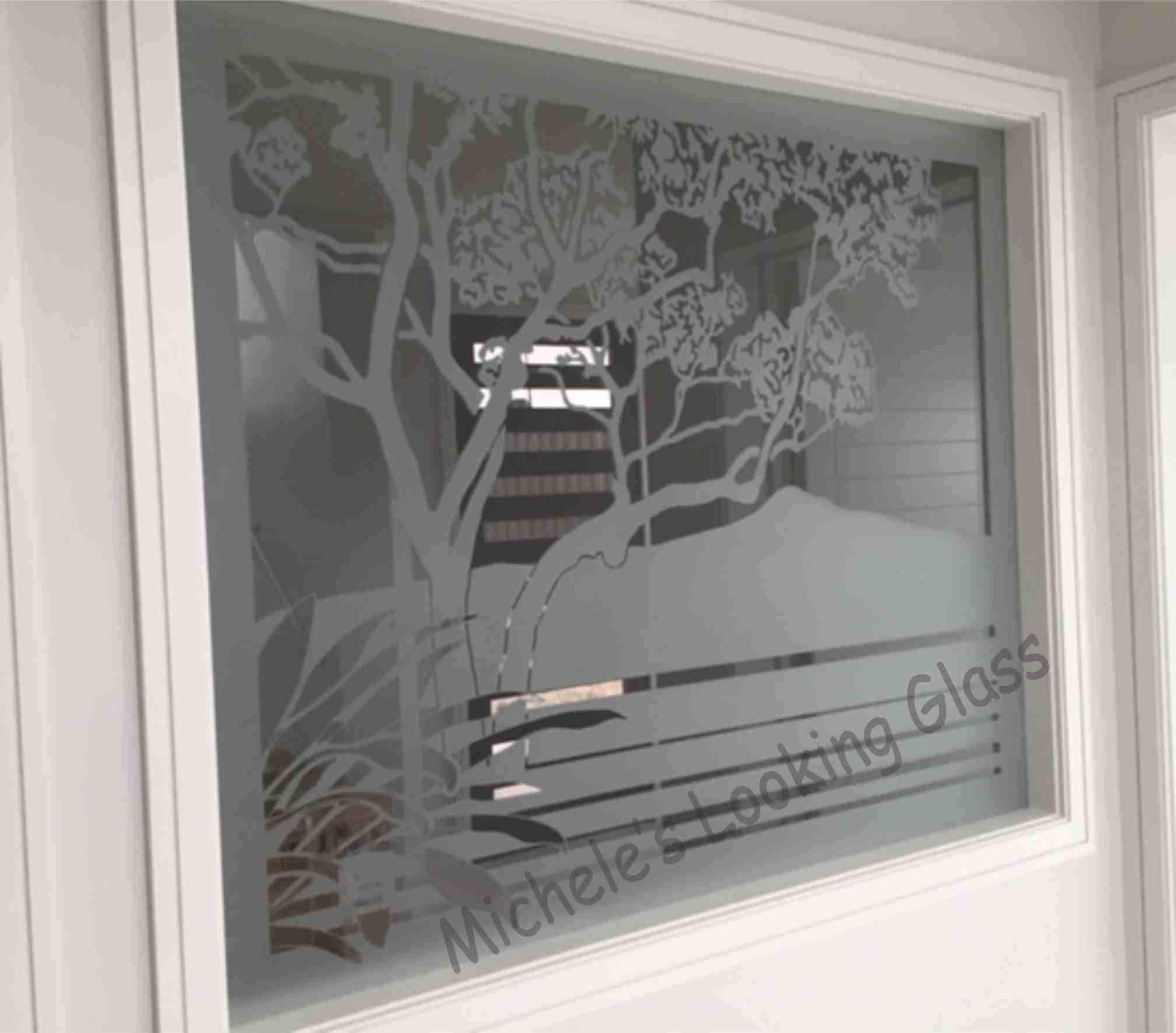 Etching on windows and glass doors enhances privacy and for Window designs nz