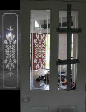 Sandblasted Glass Panel desing matched