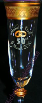 Painted and etched champagne glass
