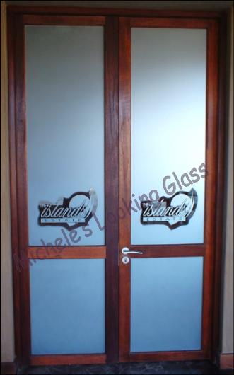 Boardroom doors etched