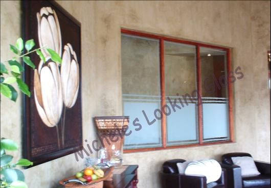 Sandblasted Health Spa windows