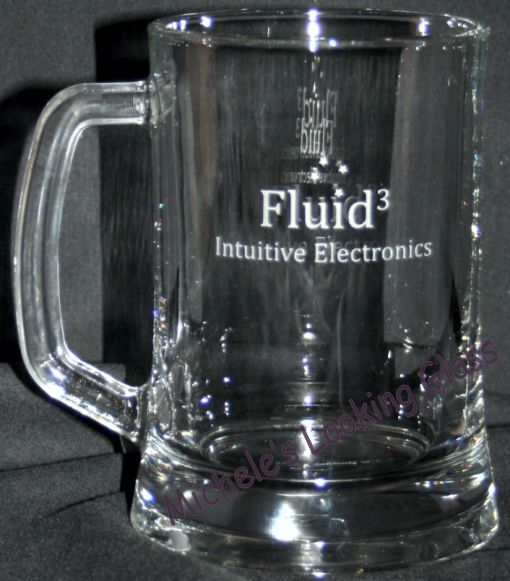 Logo etched onto beer mug
