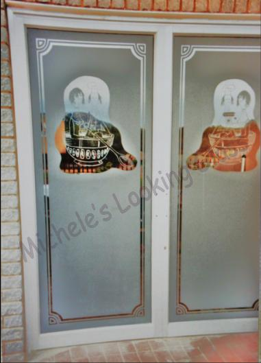 Restaurnat doors with logo etched