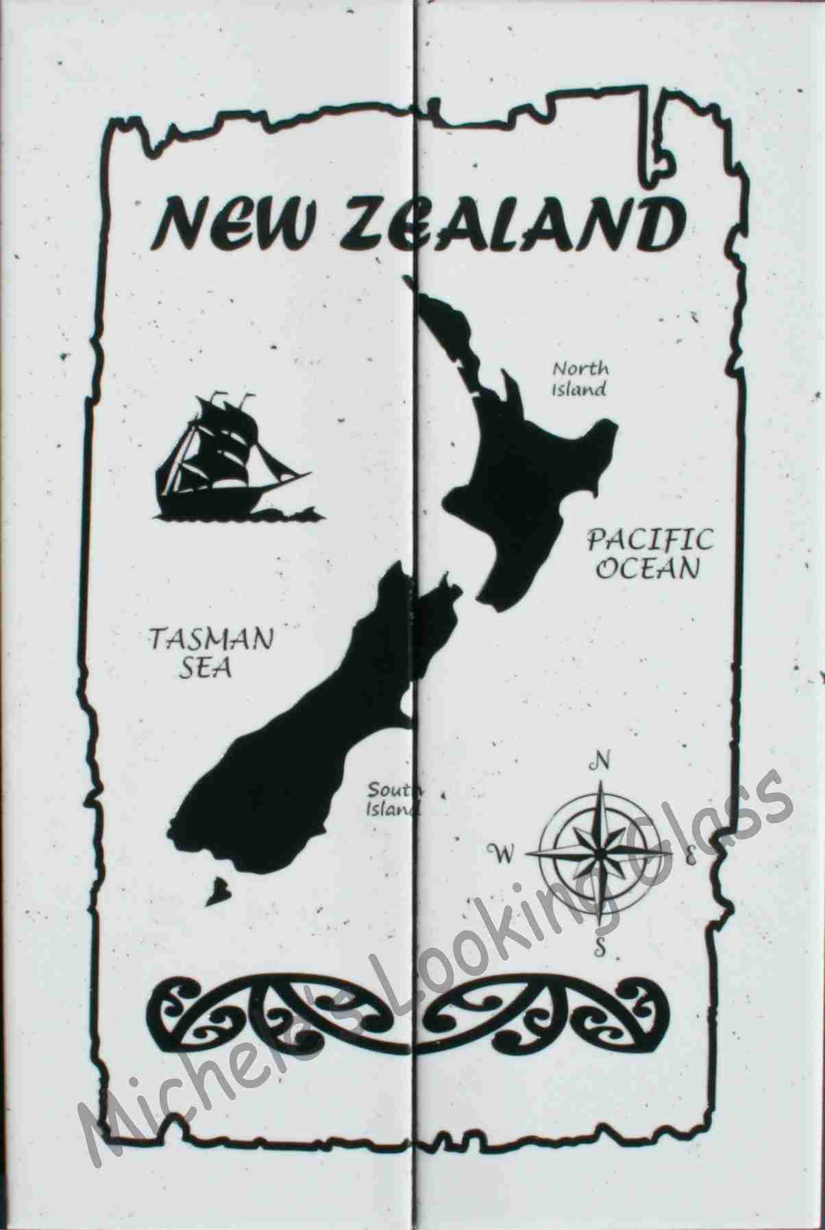 Map of NZ etched and painted onto tiles