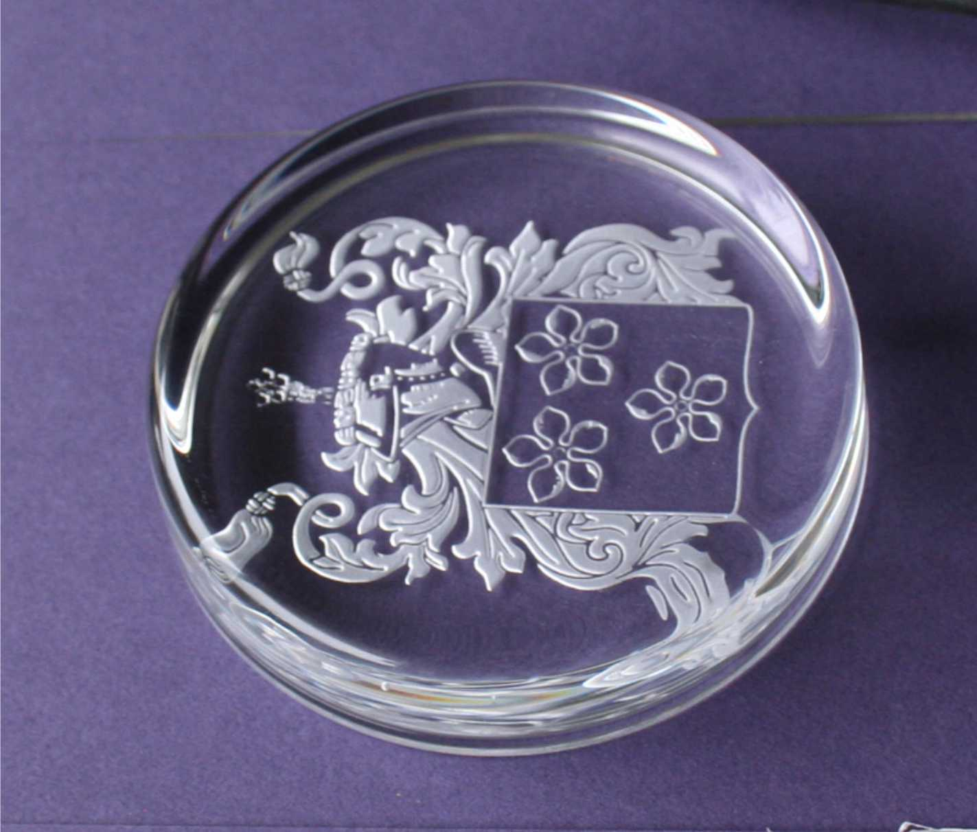 Engraved Coat of Arms on paperweight