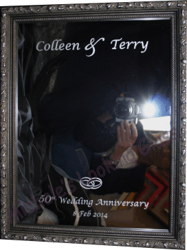 Etched + framed mirror to celebrate 50th wedding anniversary