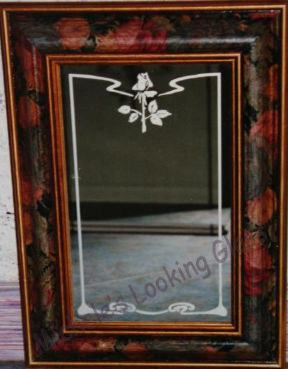 Framed and etched mirror with edge design