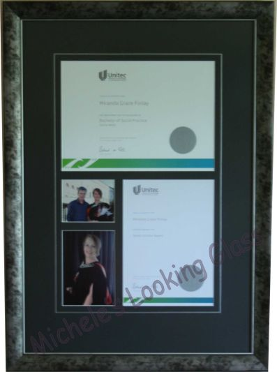 Degree, certificate and photos framed together