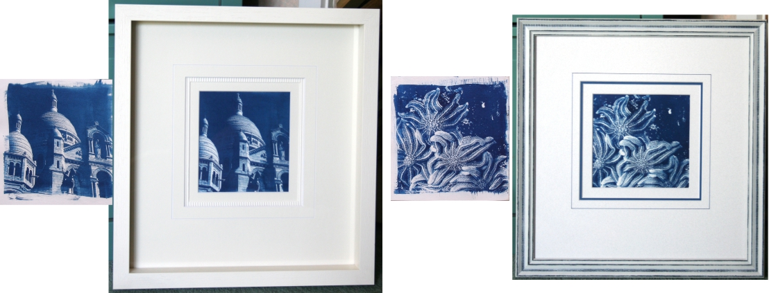 Two similar prints framed differently