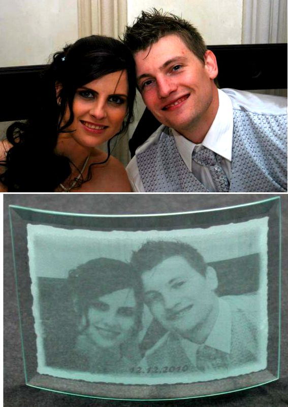 wedding photo etched onto glass