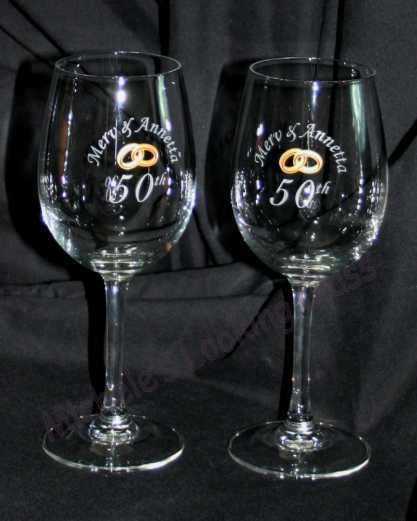 Etched 50th anniversary glasses